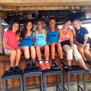 girls sitting on bar